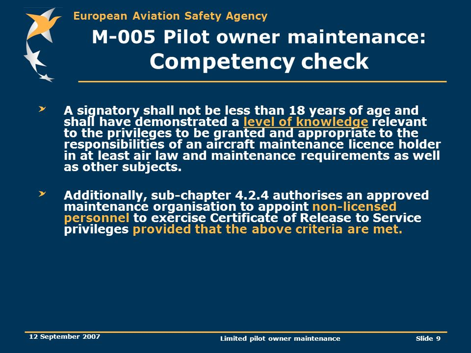 M-005 Pilot owner maintenance: Competency check