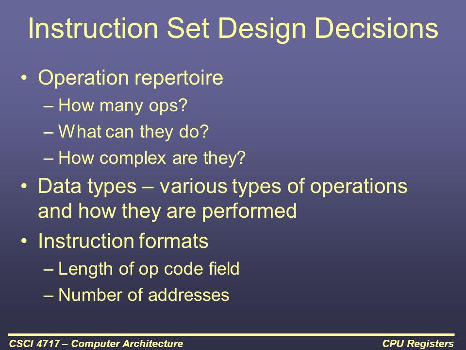 instruction set architecture design