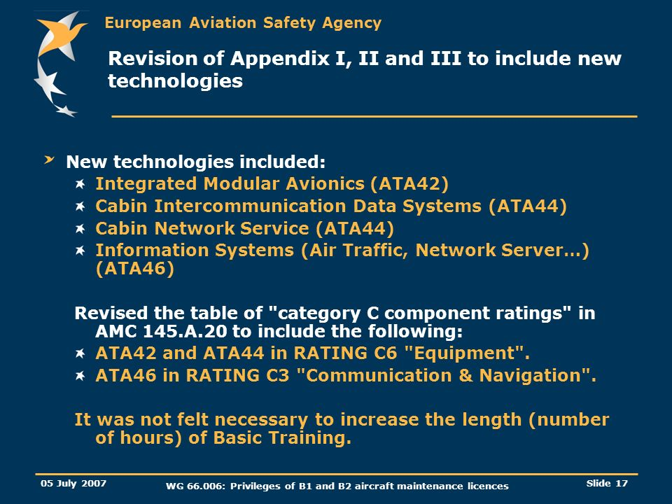 Revision of Appendix I, II and III to include new technologies