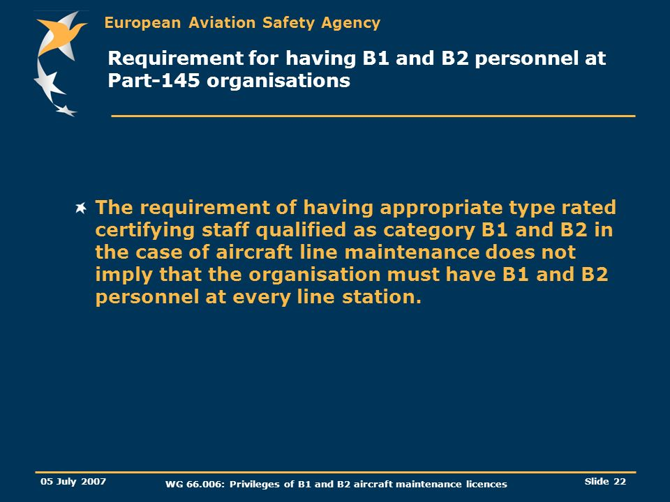 Requirement for having B1 and B2 personnel at Part-145 organisations