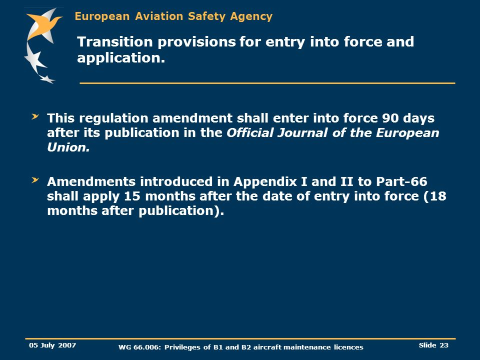 Transition provisions for entry into force and application.