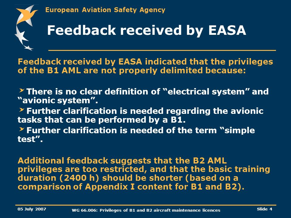 Feedback received by EASA