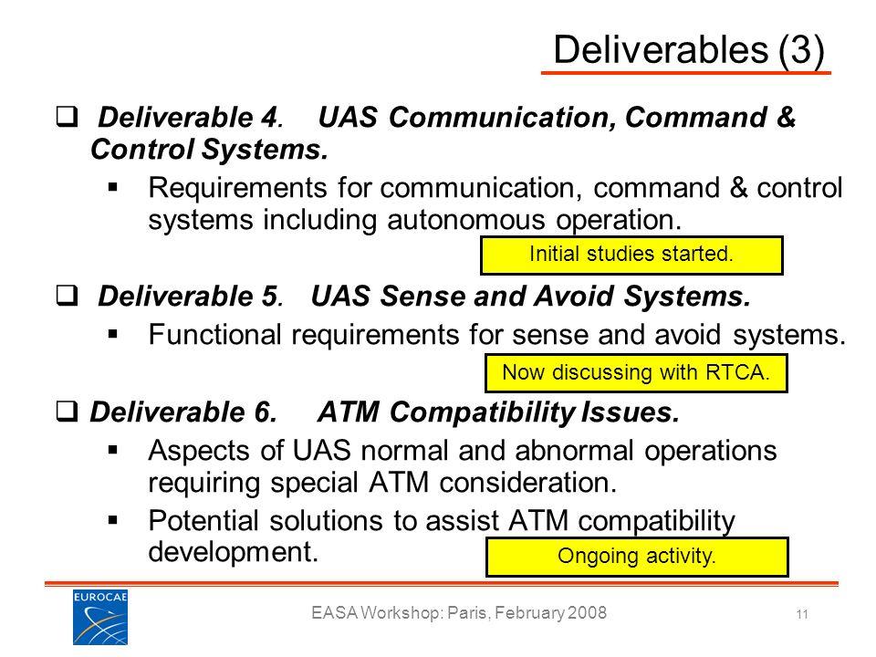 Deliverables (3) Deliverable 4. UAS Communication, Command & Control Systems.