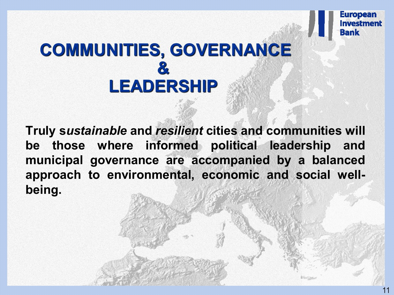 COMMUNITIES, GOVERNANCE & LEADERSHIP