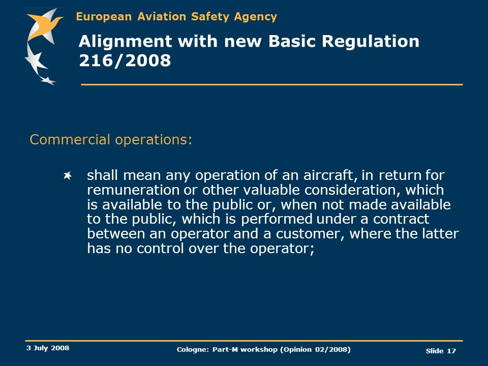 Alignment with new Basic Regulation 216/2008