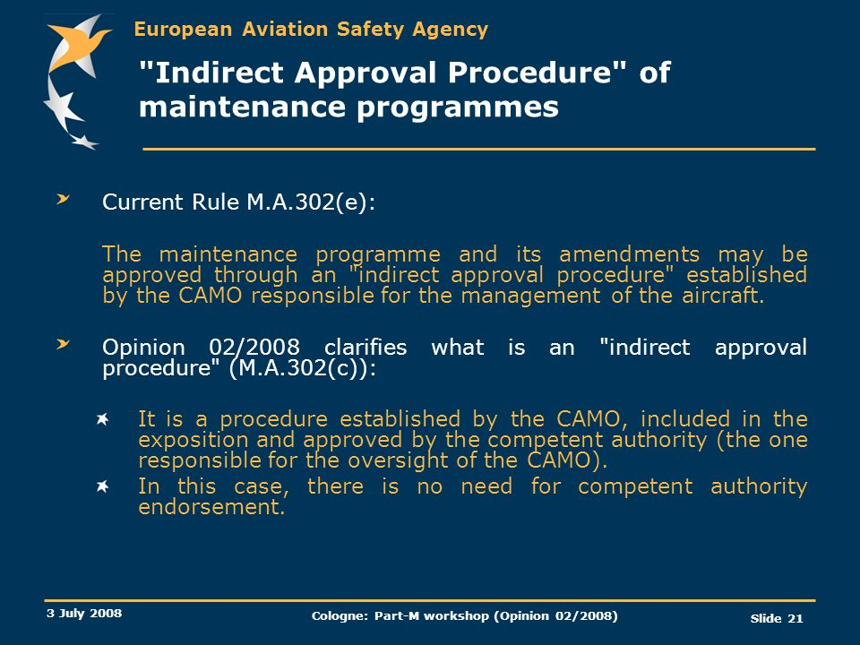 Indirect Approval Procedure of maintenance programmes