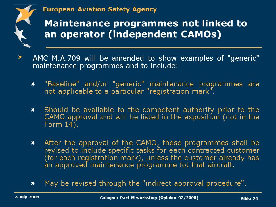 Maintenance programmes not linked to an operator (independent CAMOs)