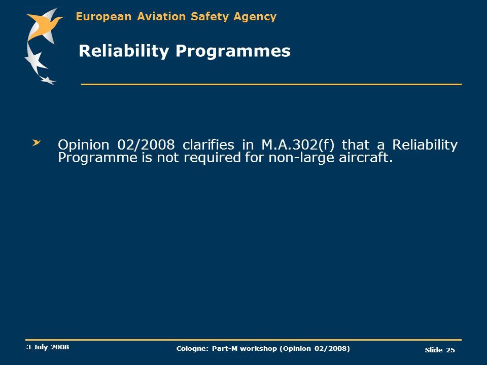 Reliability Programmes