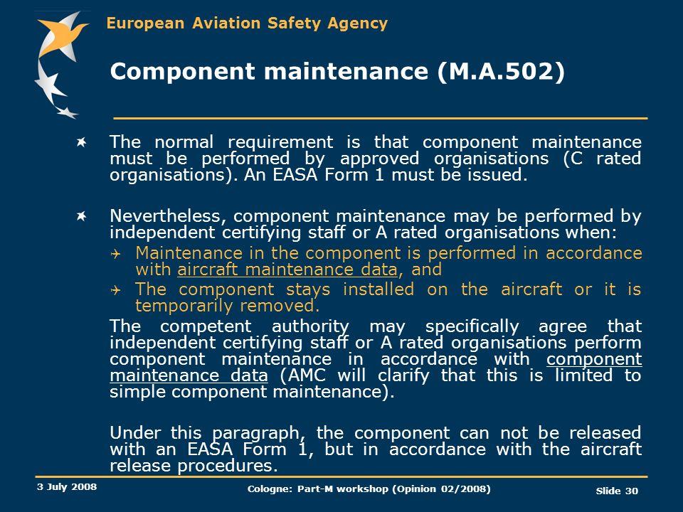 Component maintenance (M.A.502)