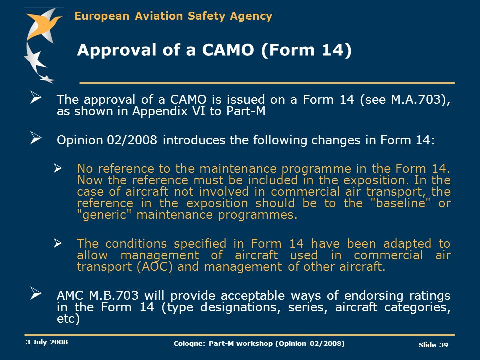 Approval of a CAMO (Form 14)
