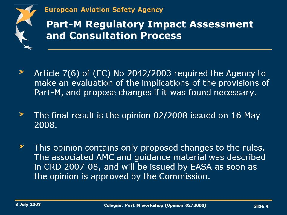 Part-M Regulatory Impact Assessment and Consultation Process