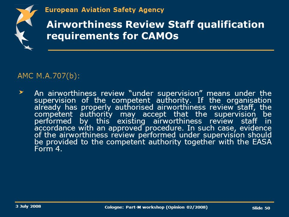 Airworthiness Review Staff qualification requirements for CAMOs