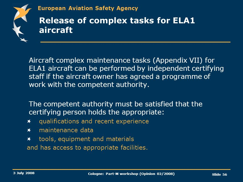 Release of complex tasks for ELA1 aircraft