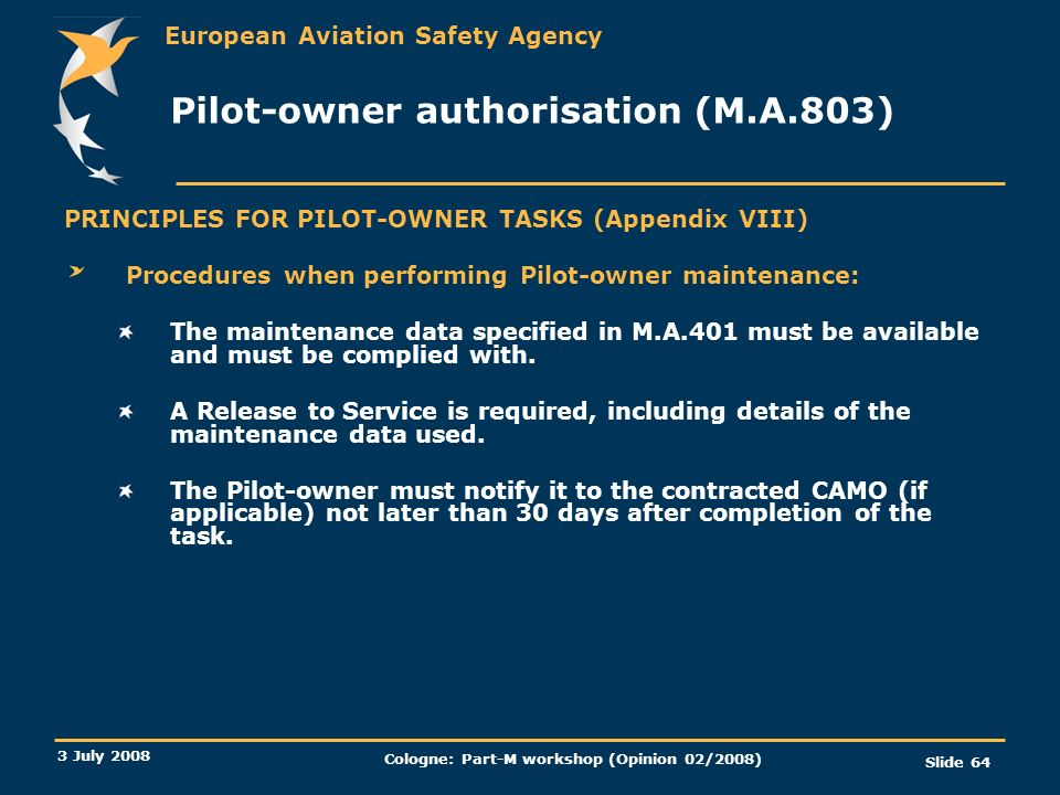 Pilot-owner authorisation (M.A.803)