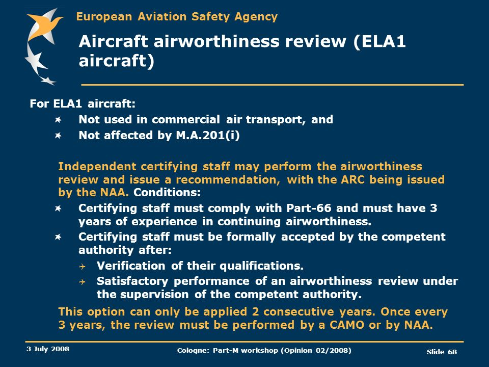 Aircraft airworthiness review (ELA1 aircraft)