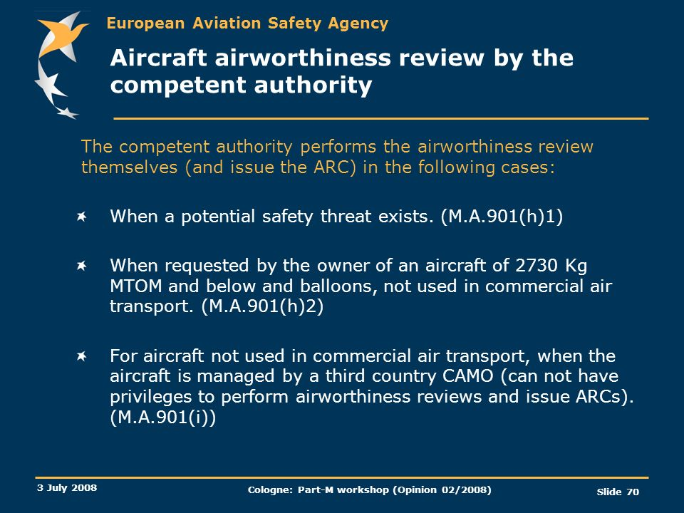 Aircraft airworthiness review by the competent authority