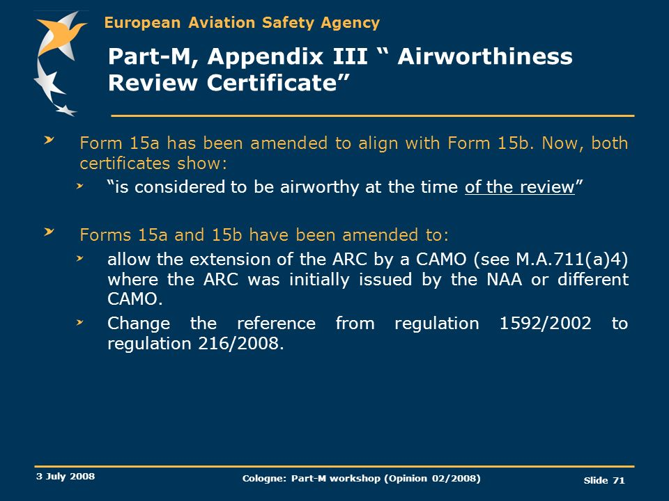 Part-M, Appendix III Airworthiness Review Certificate