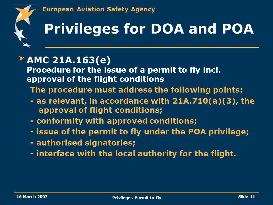 Privileges for DOA and POA