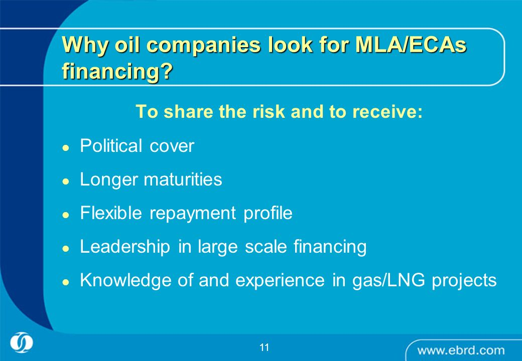Why oil companies look for MLA/ECAs financing