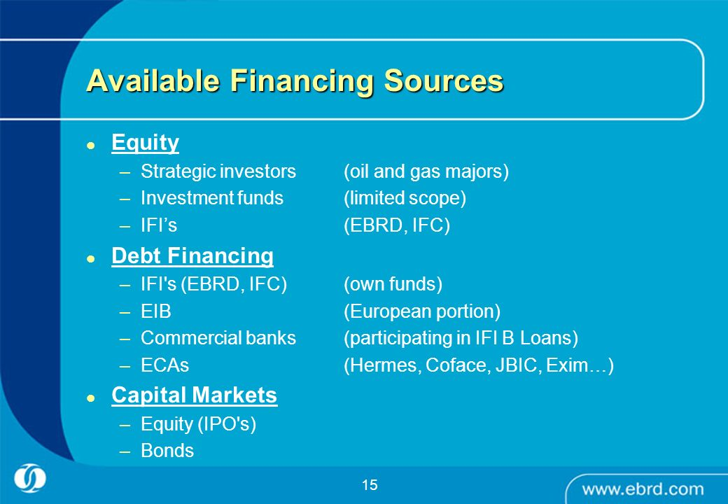 Available Financing Sources