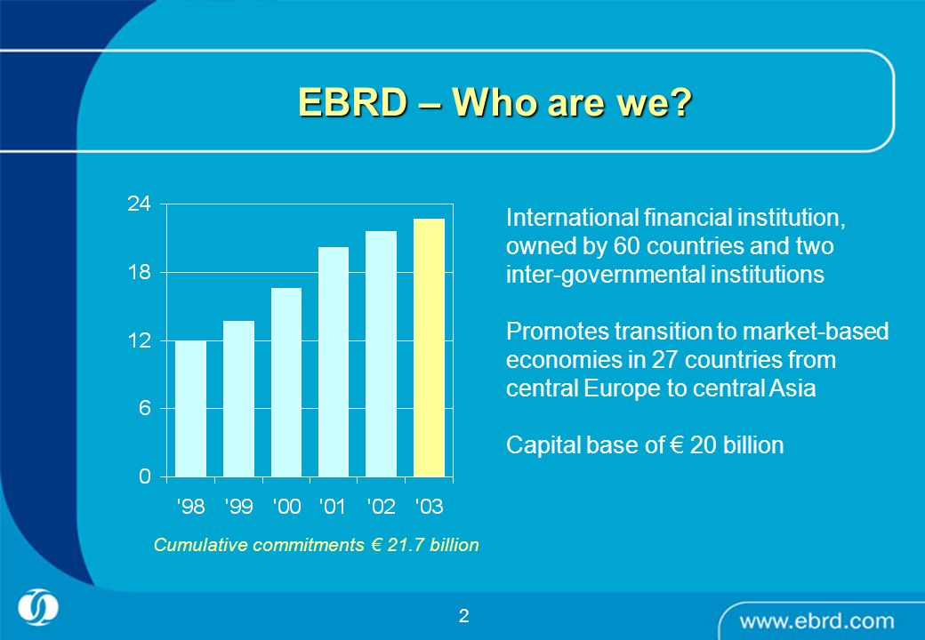 EBRD – Who are we International financial institution, owned by 60 countries and two inter-governmental institutions.