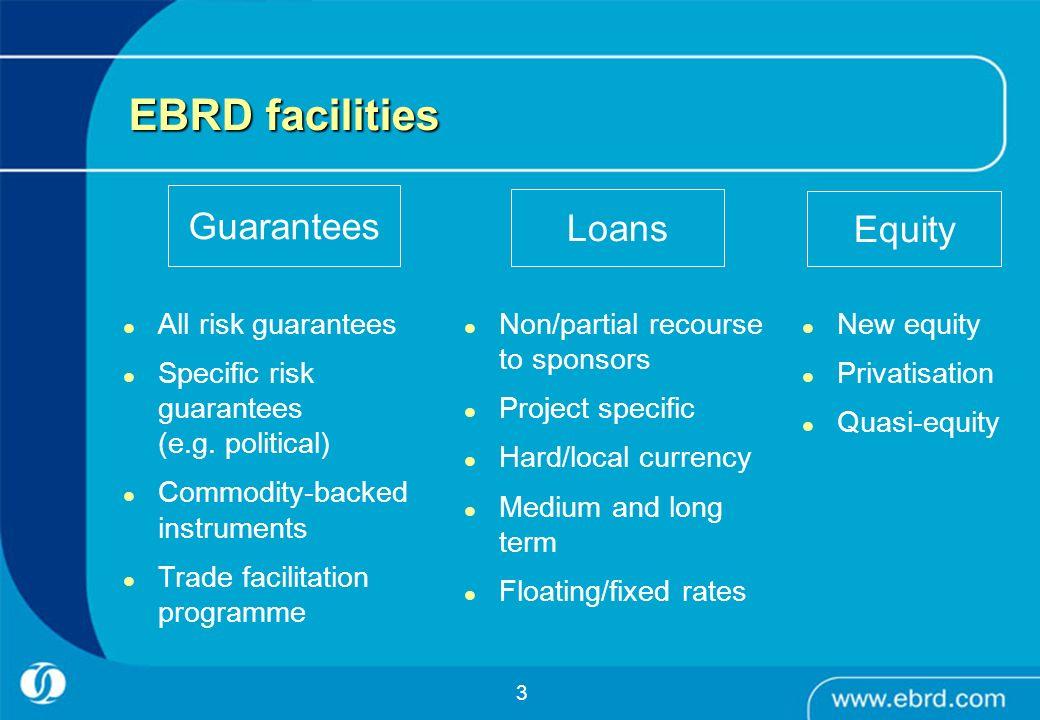 EBRD facilities Guarantees Loans Equity All risk guarantees