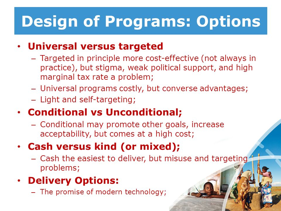 Design of Programs: Options