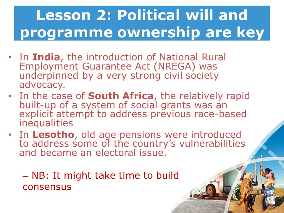 Lesson 2: Political will and programme ownership are key