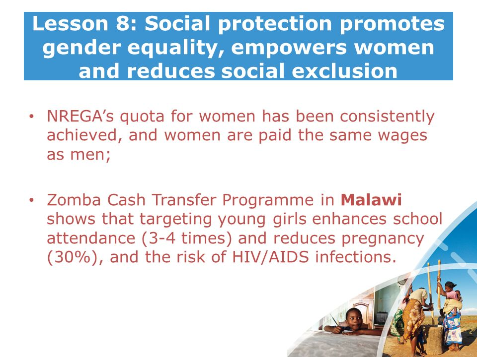 Lesson 8: Social protection promotes gender equality, empowers women and reduces social exclusion