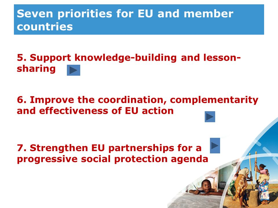 Seven priorities for EU and member countries
