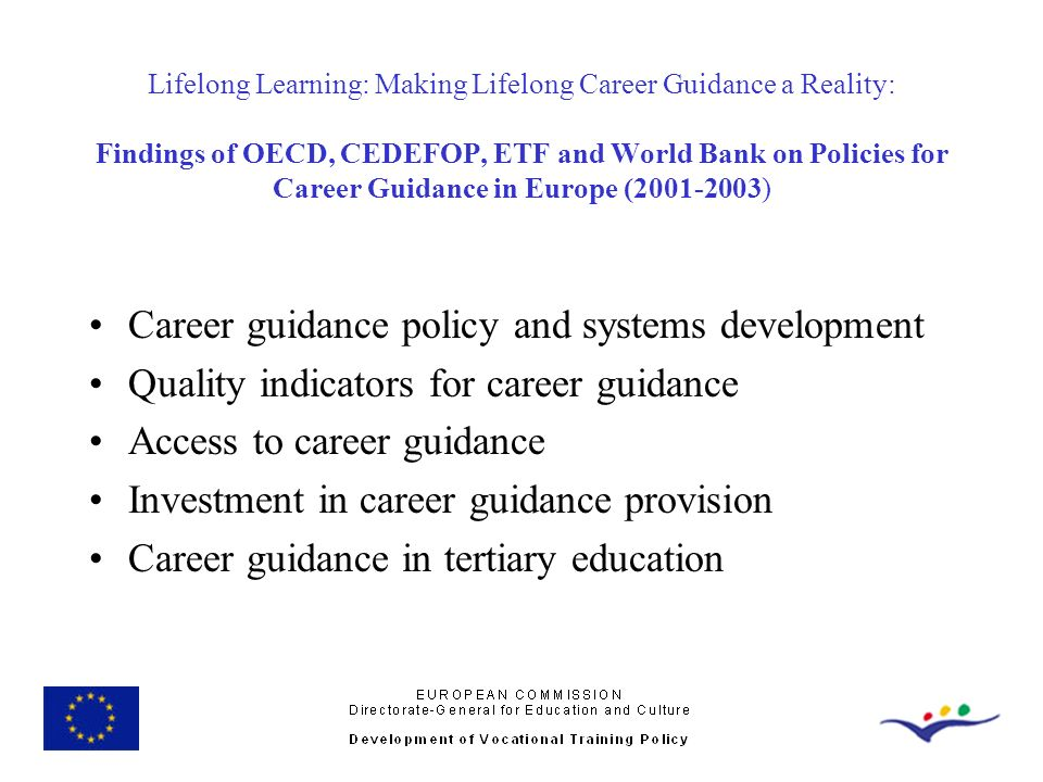 Career guidance policy and systems development