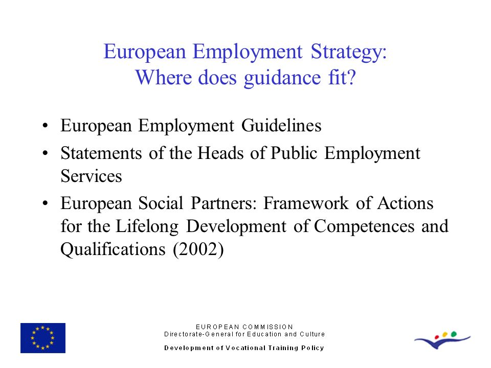 European Employment Strategy: Where does guidance fit