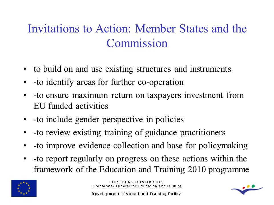Invitations to Action: Member States and the Commission