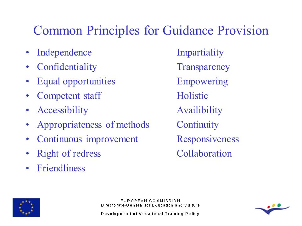 Common Principles for Guidance Provision