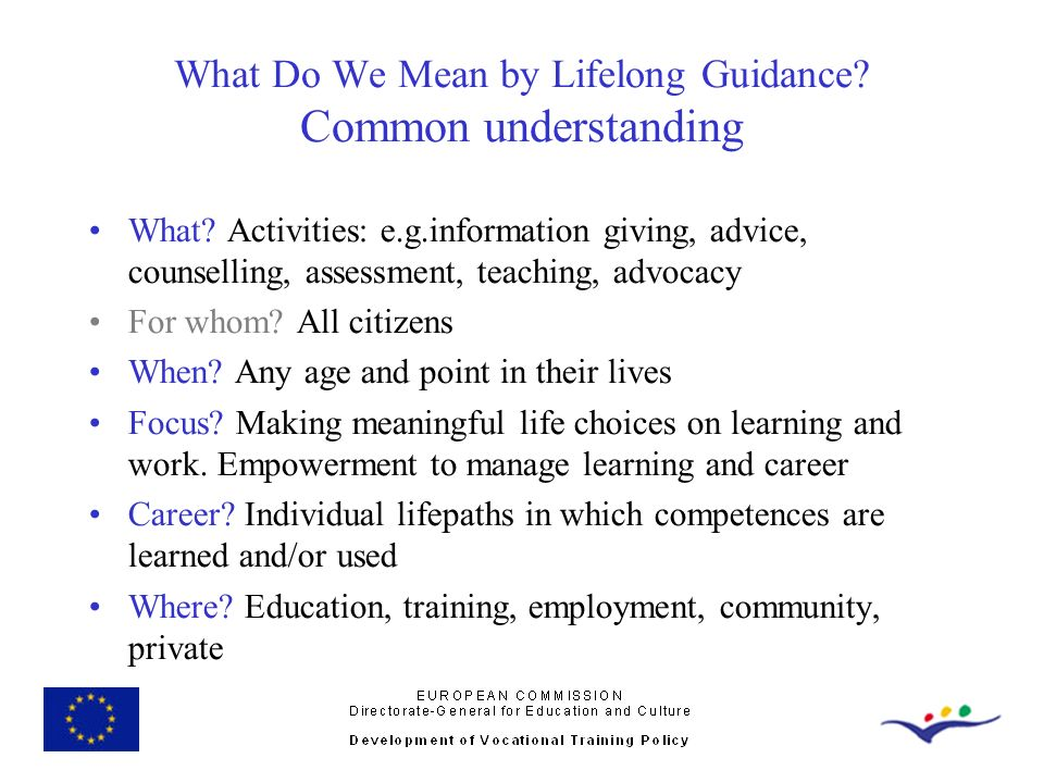 What Do We Mean by Lifelong Guidance Common understanding