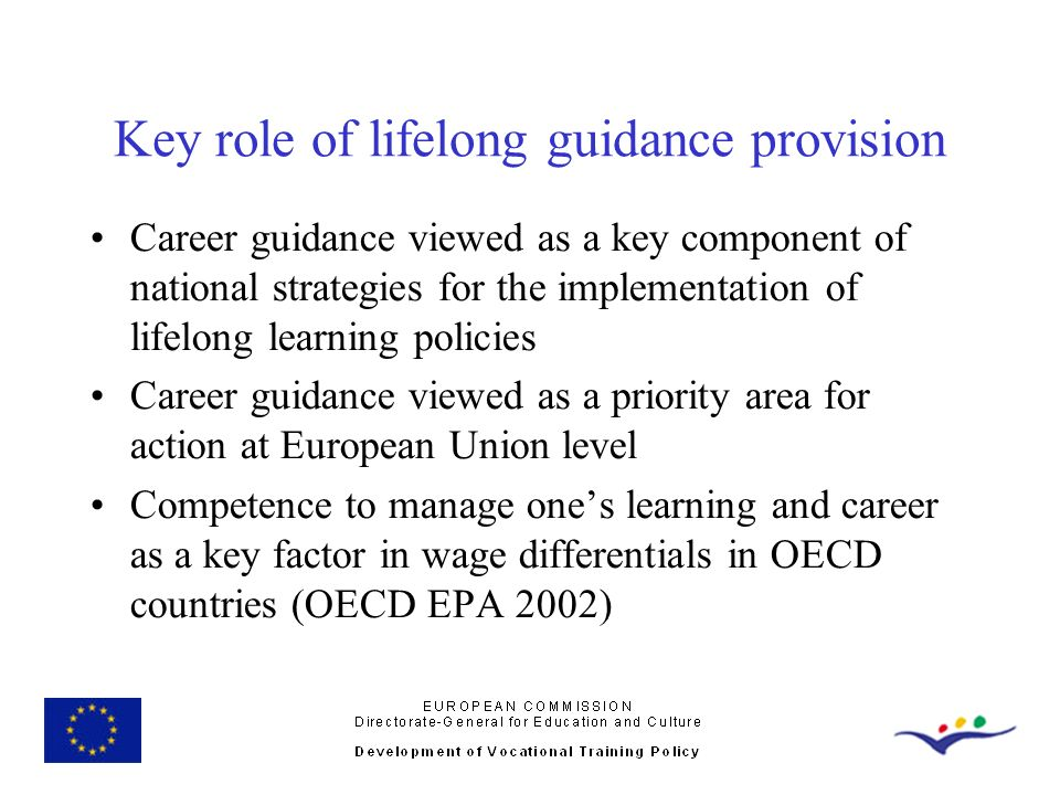 Key role of lifelong guidance provision