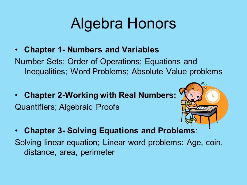 Algebra Honors Chapter 1- Numbers and Variables