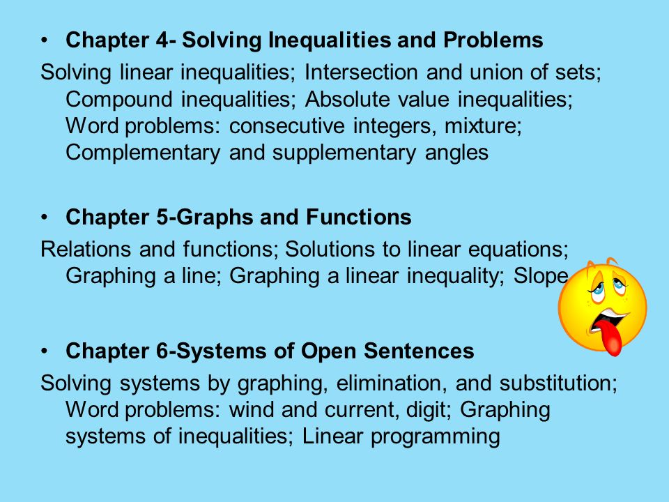 Chapter 4- Solving Inequalities and Problems