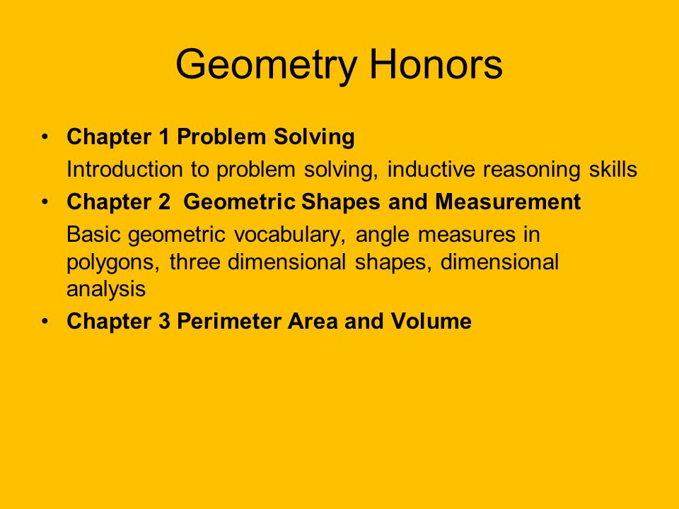 Geometry Honors Chapter 1 Problem Solving