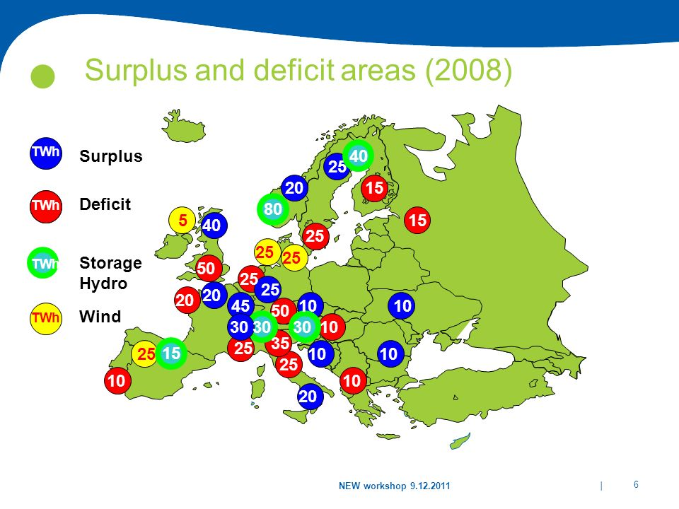Surplus and deficit areas (2008)