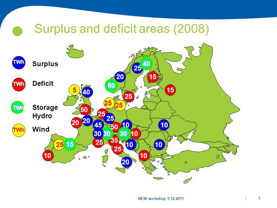 Surplus and deficit areas (2008)