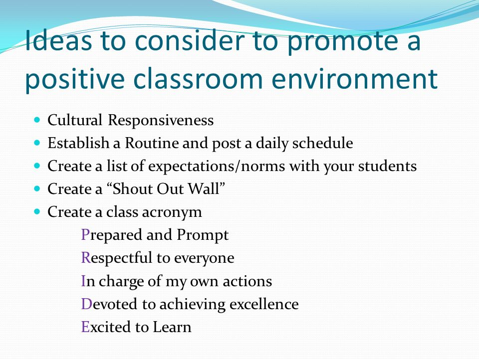 creating respectful classroom environments essay To begin this essay by making some gigantic assumptions about you i am going  to  are some ways you might try to make your classroom environment a more  clement one:  syllabi statements that require respectful behavior or a proactive .