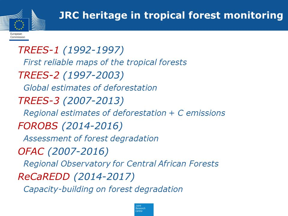 JRC heritage in tropical forest monitoring