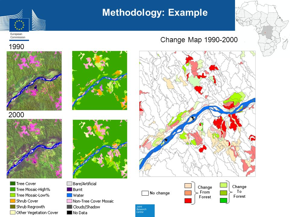Methodology: Example Change Map 1990-2000 1990 2000 Change From Forest