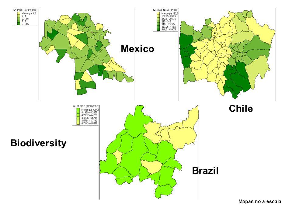Mexico Chile Biodiversity Brazil Mapas no a escala