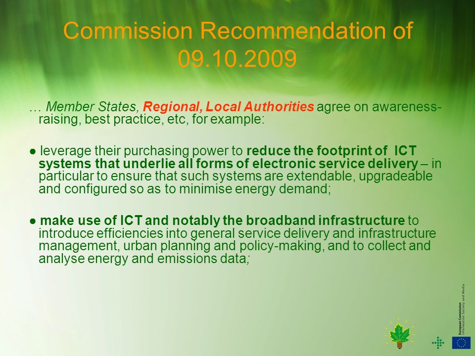 Commission Recommendation of 09.10.2009