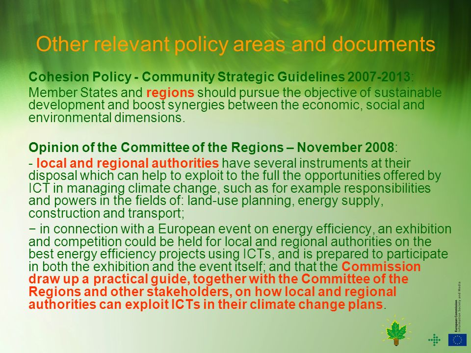 Other relevant policy areas and documents