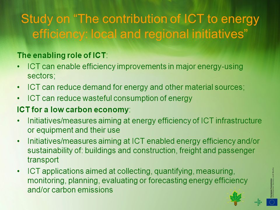 Study on The contribution of ICT to energy efficiency: local and regional initiatives