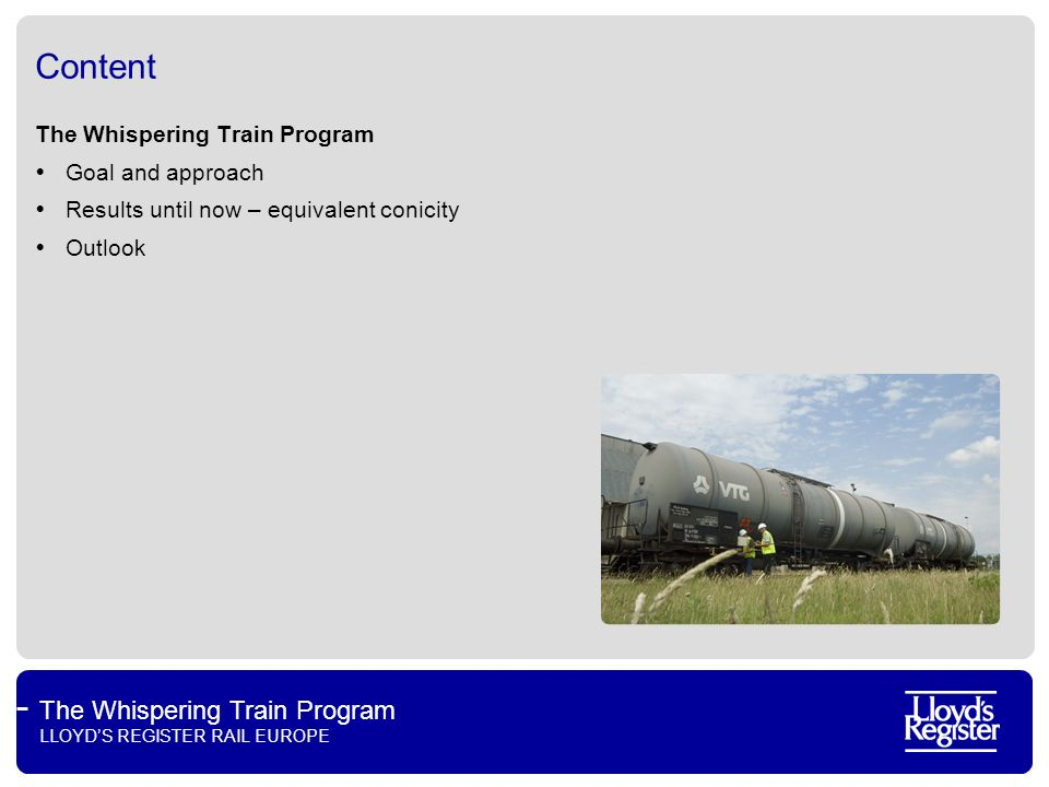 Content The Whispering Train Program Goal and approach