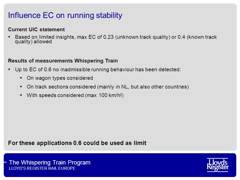 Influence EC on running stability